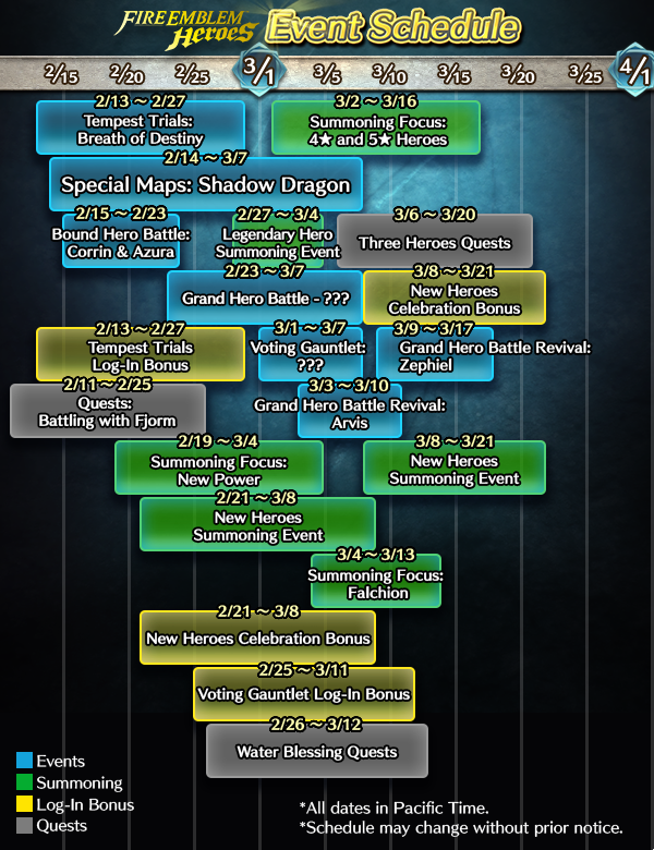 we have gathered the most useful upcoming event information in a simple calendar that goes up through early march use it as a guide as you play the game